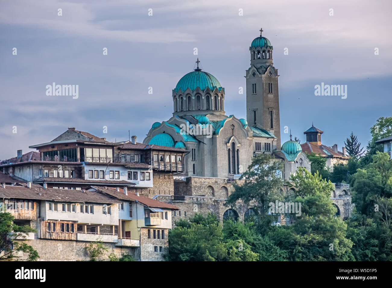 Patriarchal Cathedral of the Holy Ascension of God, Veliko Tarnovo, City of the Tsars, on the Yantra River, Bulgaria. It was the capital of the Second Stock Photo