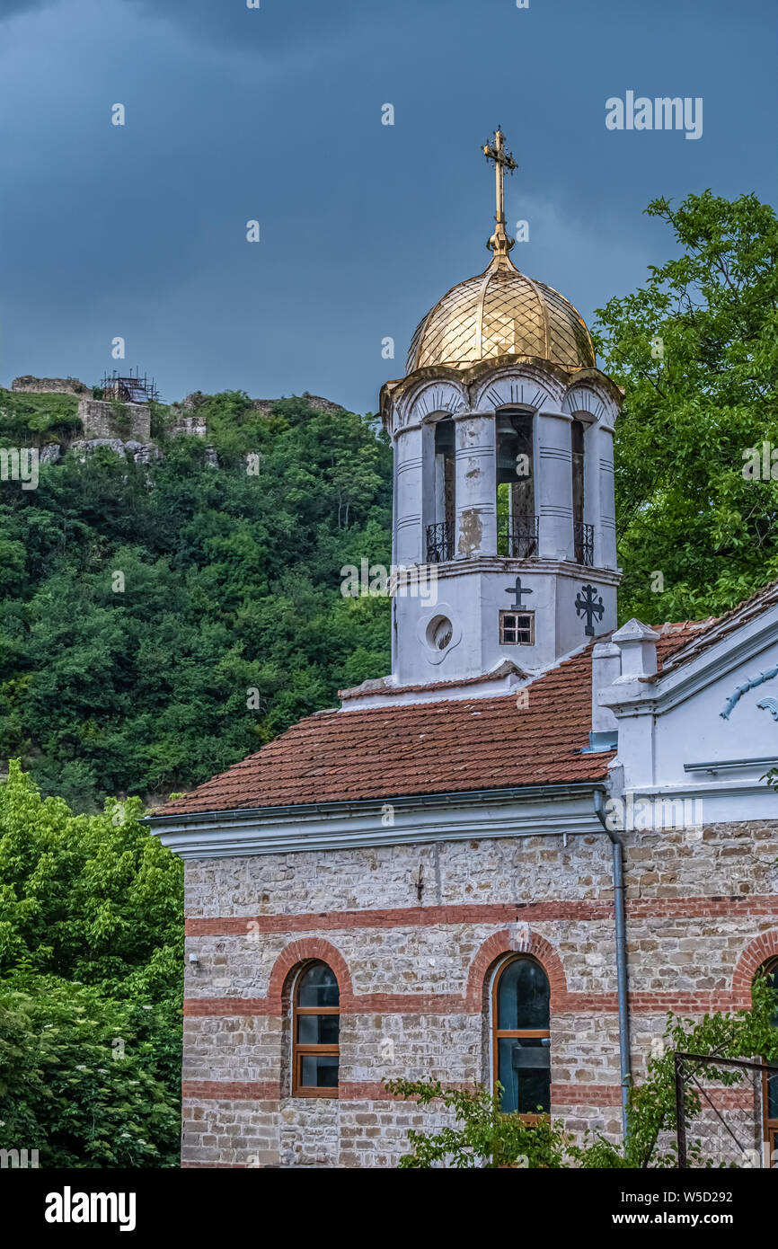 The old town of Veliko Tarnovo, City of the Tsars, on the Yantra River, Bulgaria. It was the capital of the Second Bulgarian Kingdom Stock Photo