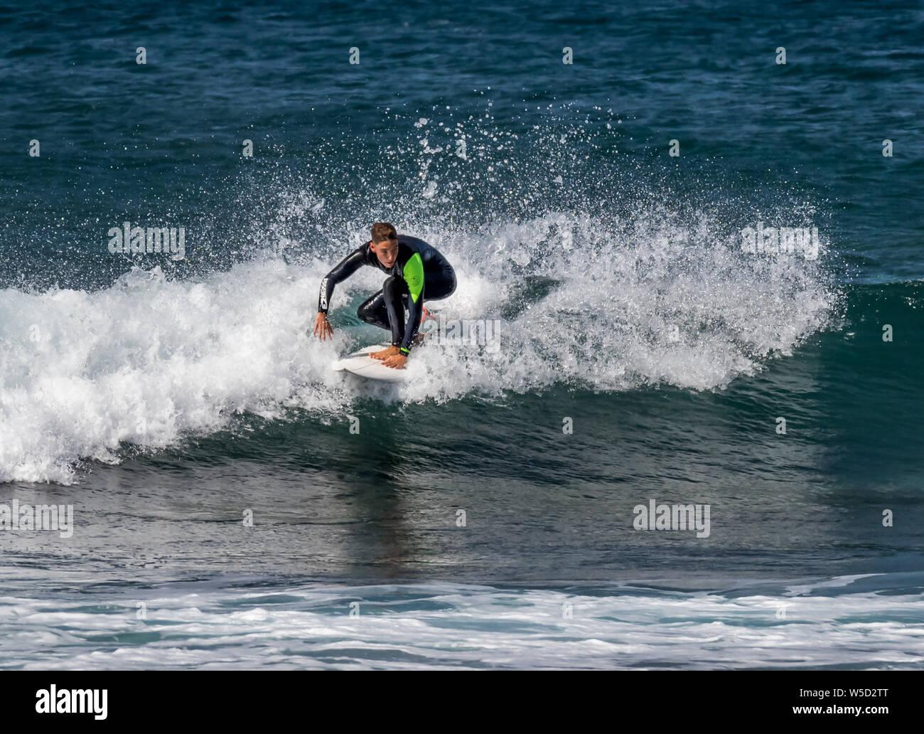 Short Board Surfing, Playa de las Americas Stock Photo