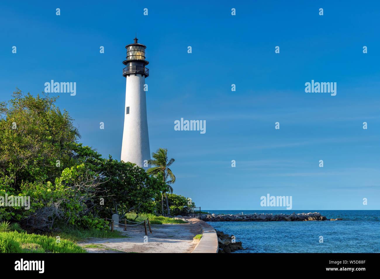 Cape Florida Lighthouse on the beach, Key Biscayne, Miami, Florida, USA Stock Photo