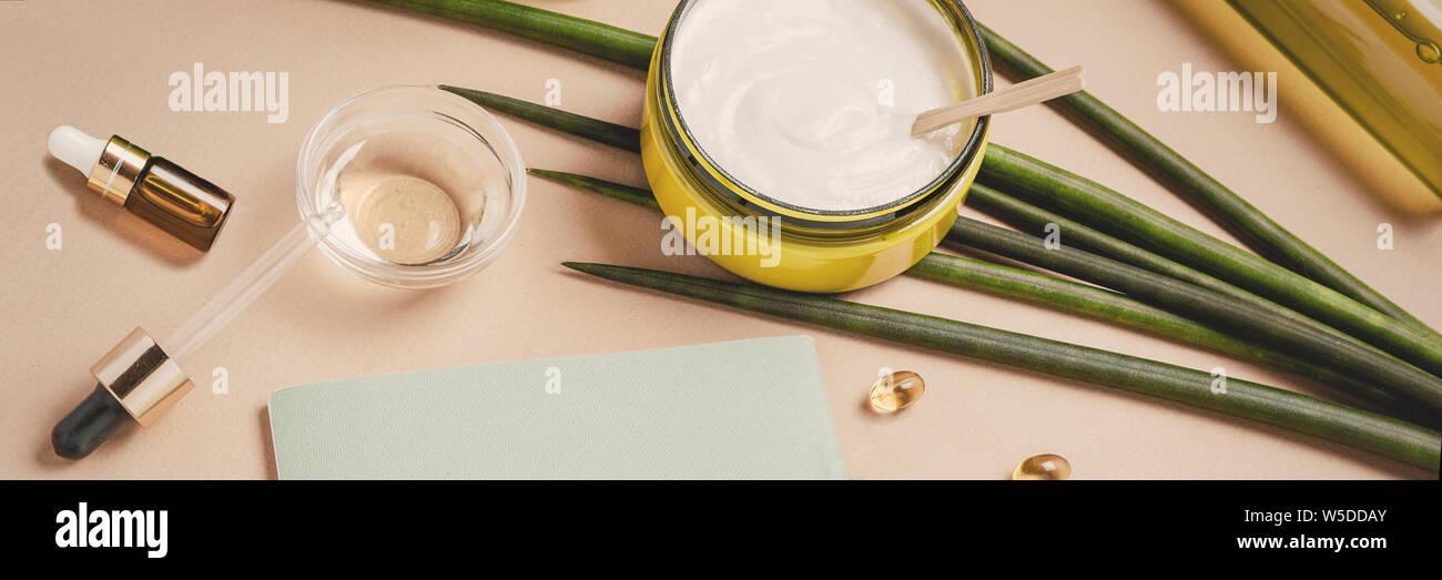 Natural cosmetics. Serum, shampoo, hair mask. Organic care concept. Flat lay, copy space Stock Photo