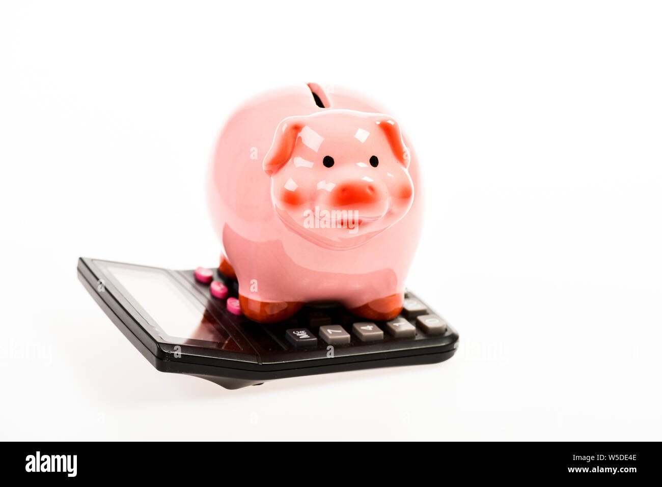 bookkeeping. financial problem. moneybox with calculator. Piggy bank. income capital management. money saving. Accounting and payroll. planning and counting budget. Business expert. Stock Photo