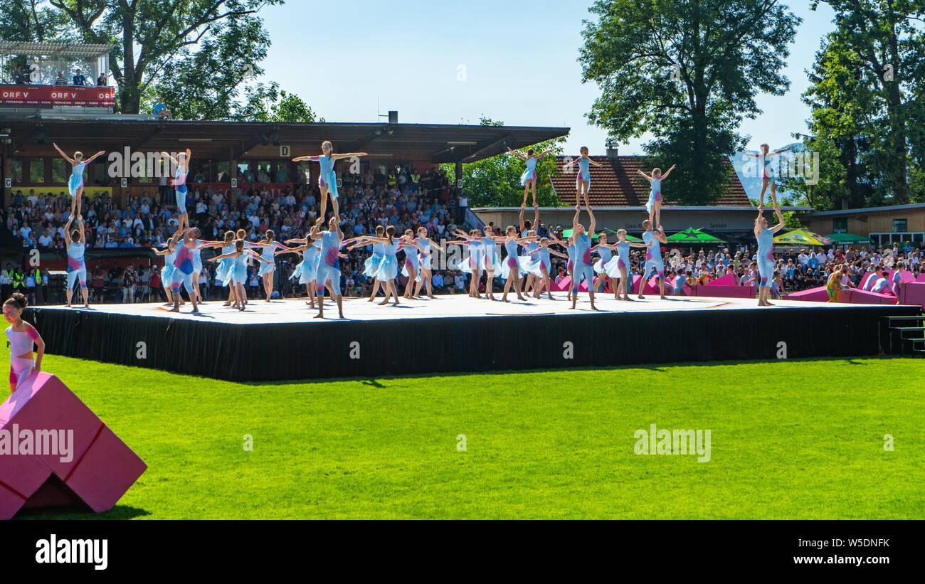 Eröffnungsfeier der World Gymnaestrada 2019 in Dornbirn, Birkenwiesestadion, Österreich Stock Photo
