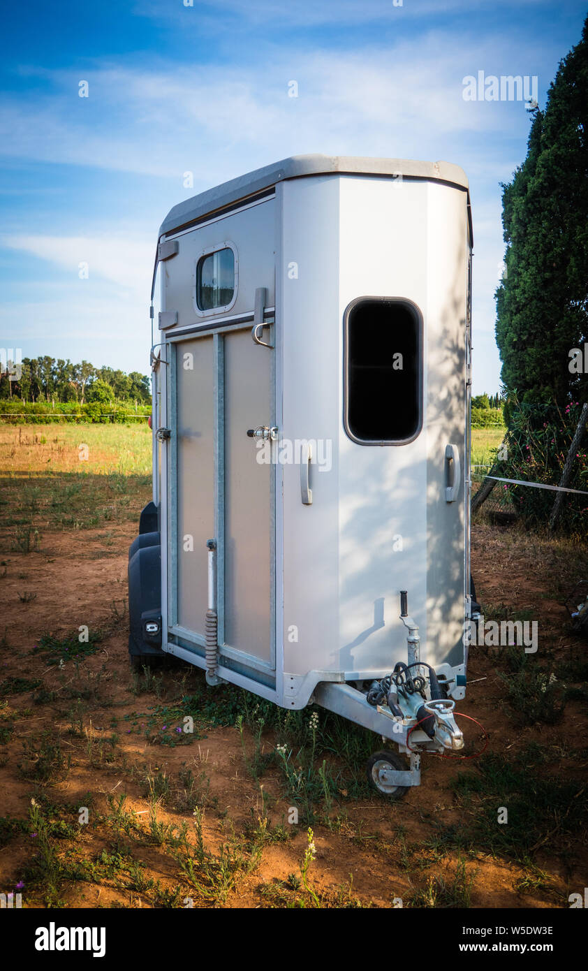 Rome Italy July 22 2019 Full Length Of Steel Modern Horse Float Empty In Farm Countryside Stables Stock Photo Alamy