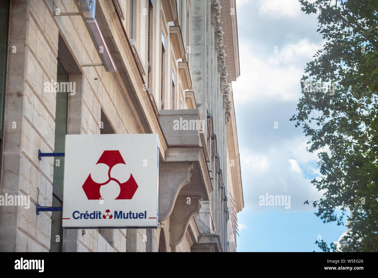 Lyon France July 13 2019 Credit Mutuel Logo In Front Of