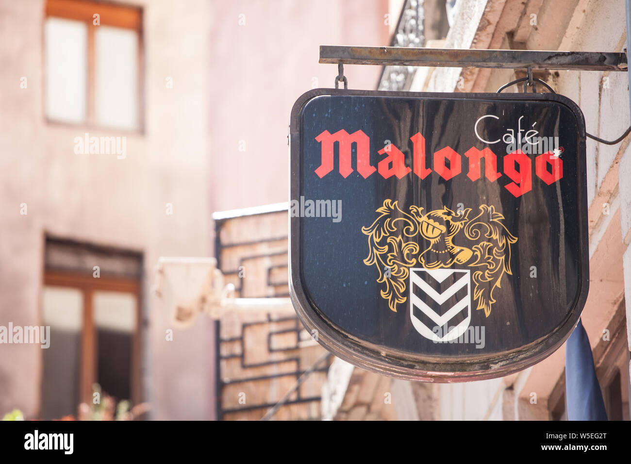 LYON, FRANCE - JULY 14, 2019: Cafe Malongo logo on a cafe