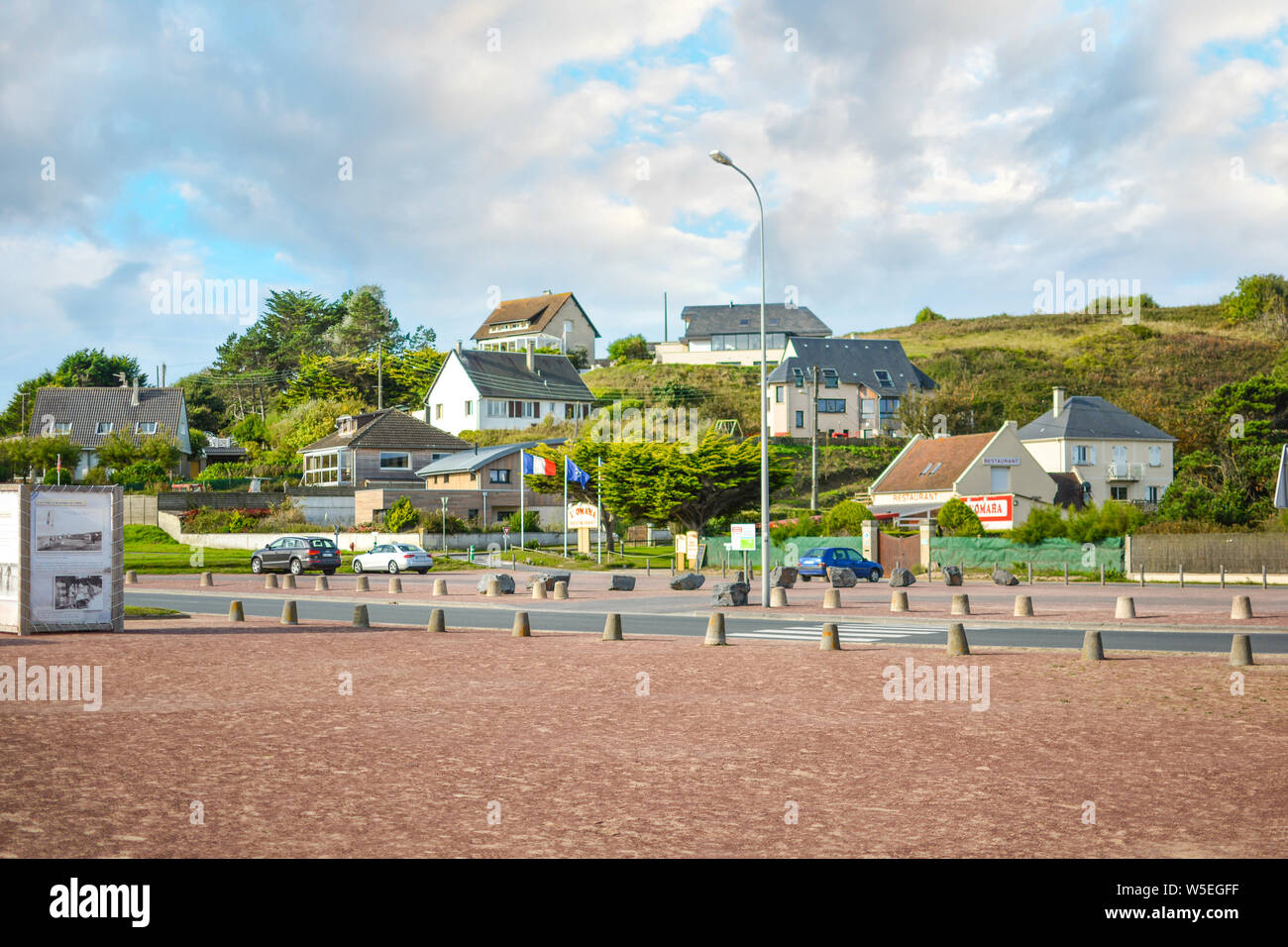 The French village of Vierville-sur-Mer along the coast of the English Channel in Normandy, site of the famous Omaha Beach 1944 D Day invasion. - Stock Photo