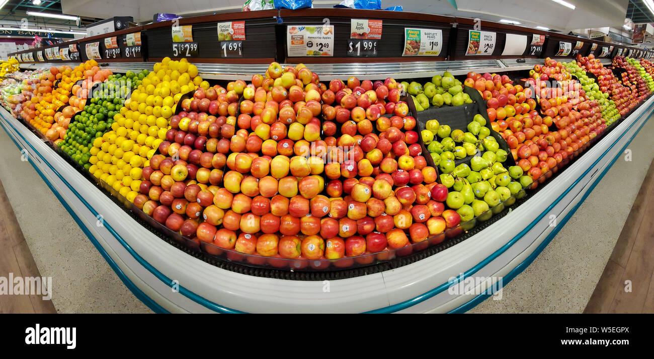 WHARTON, NJ, USA - JULY 28, 2019: Shelves with fresh fruits in a Shoprite supermarket. Stock Photo
