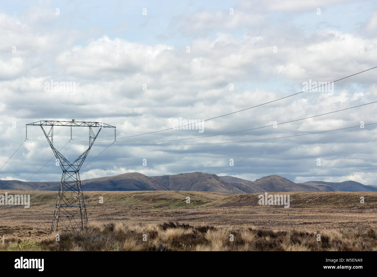 A Pylon stands tall in the Rangipo Desert, a barren desert-like environment in New Zealand, located in the Ruapehu District on the North Island Volcan Stock Photo
