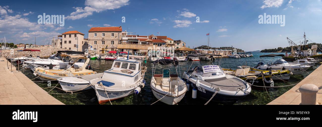 Panoramic view of Tribunj harbour on the Adriatic coast of Croatia Stock Photo
