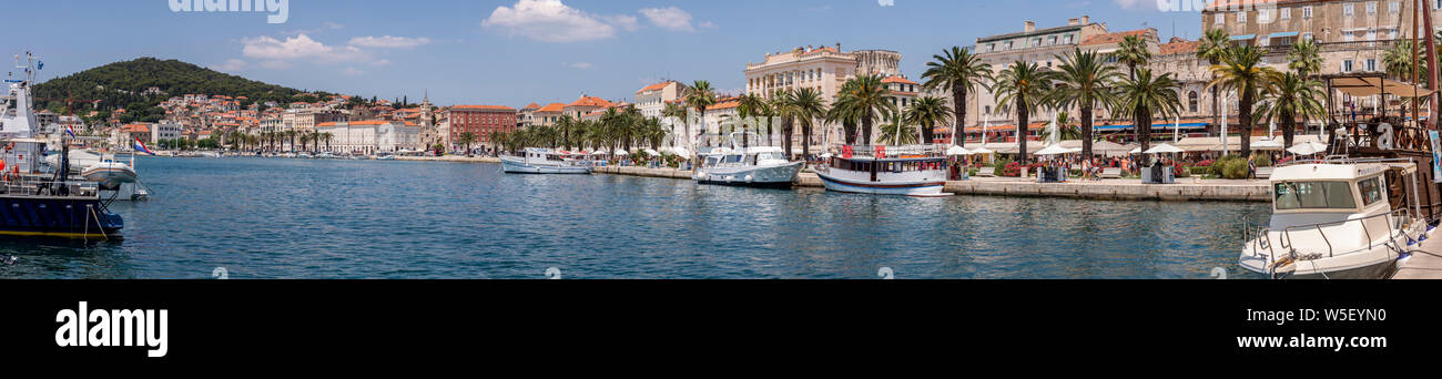 Panoramic view of Split harbour on the Adriatic coast of Croatia Stock Photo