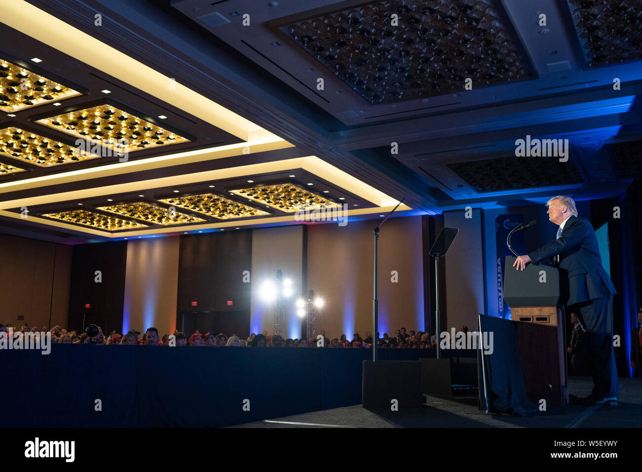 Washington, United States Of America. 23rd July, 2019. President Donald J. Trump delivers remarks at the Turning Point USA Teen Action Summit Tuesday, July 23, 2019, at the Marriott Marquis in Washington, DC People: President Donald Trump Credit: Storms Media Group/Alamy Live News Stock Photo