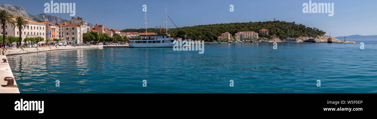 Panoramic view of Makarska on the Adriatic coast of Croatia Stock Photo