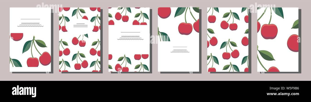 Set of positive summer card templates with red cherries. Use for invitations, greeting cards, romantic design, festive announcements, posters, menu Stock Vector