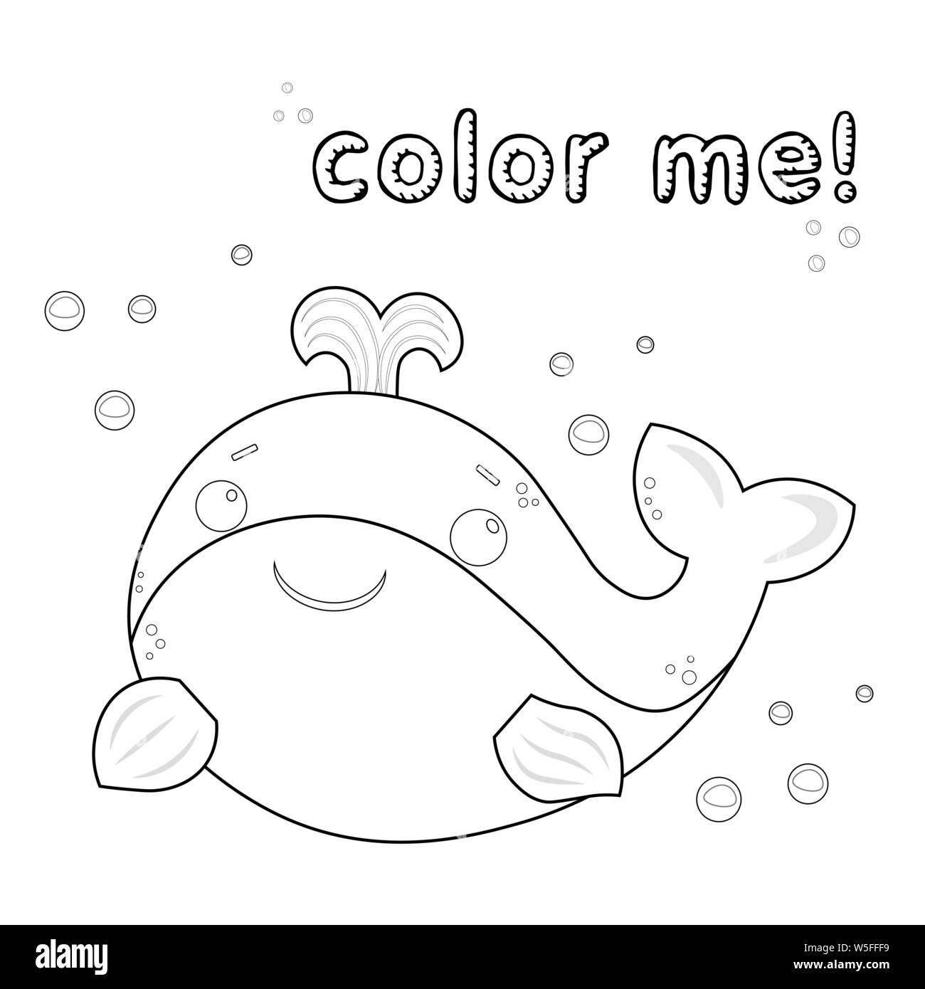 game for kids outline whale coloring page black and white whale cartoon character vector illustration isolated on white background marine animals W5FFF9