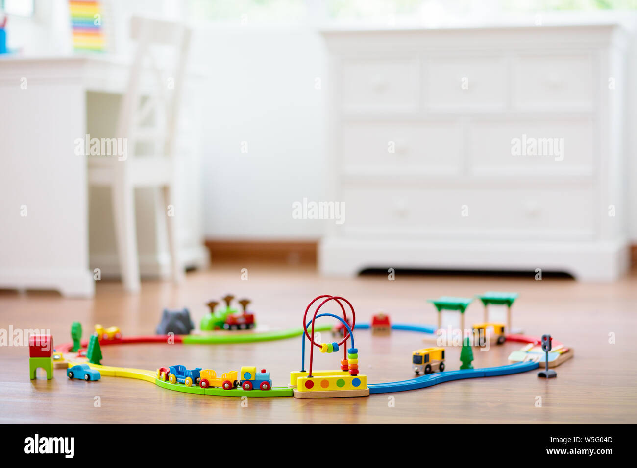 Kids Room With Wooden Railway And Train Rail Road Toy For Children
