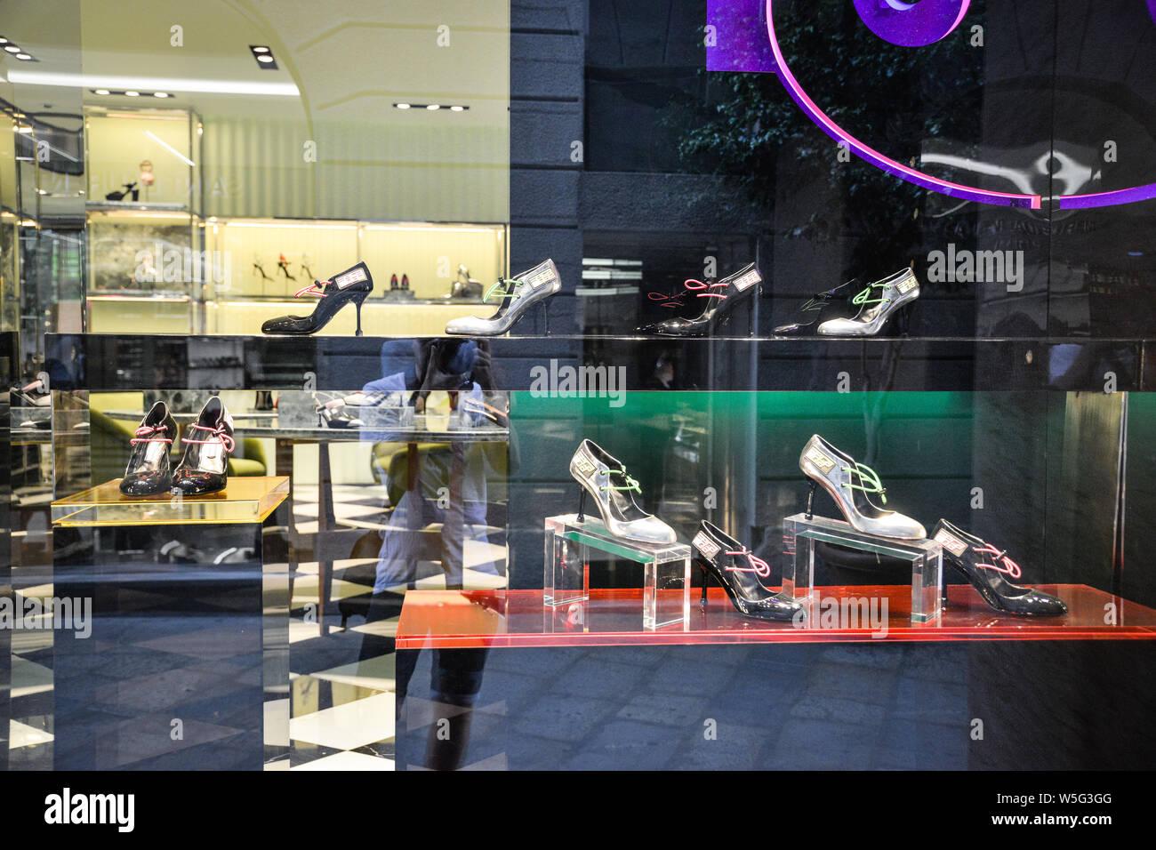 Milan, Italy - September 21, 2018: Prada store in Milan. Montenapoleone area. Fashion week Prada Stock Photo
