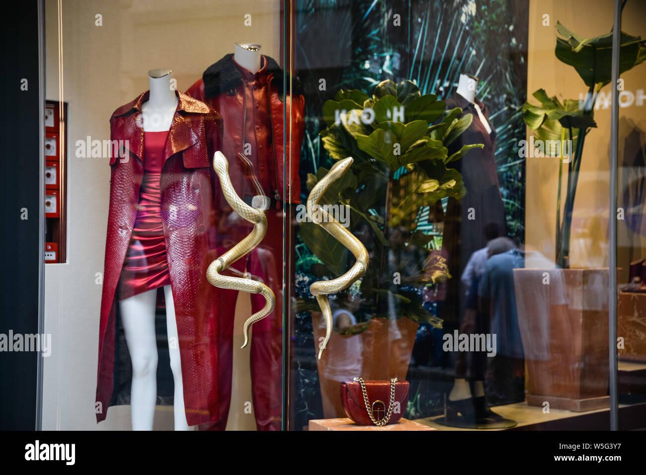 Milan, Italy - September 21, 2018: Roberto Cavalli store in Milan. Montenapoleone area. Fashion week Roberto Cavalli shopping. Stock Photo