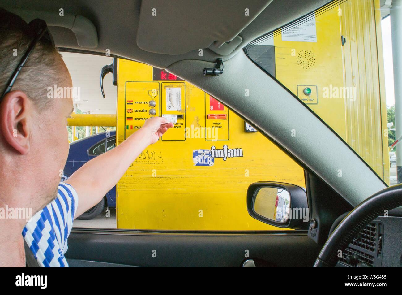 A1 motorway, highway, Zagreb/Demerje, sign Cestarina, BANK CARD NO