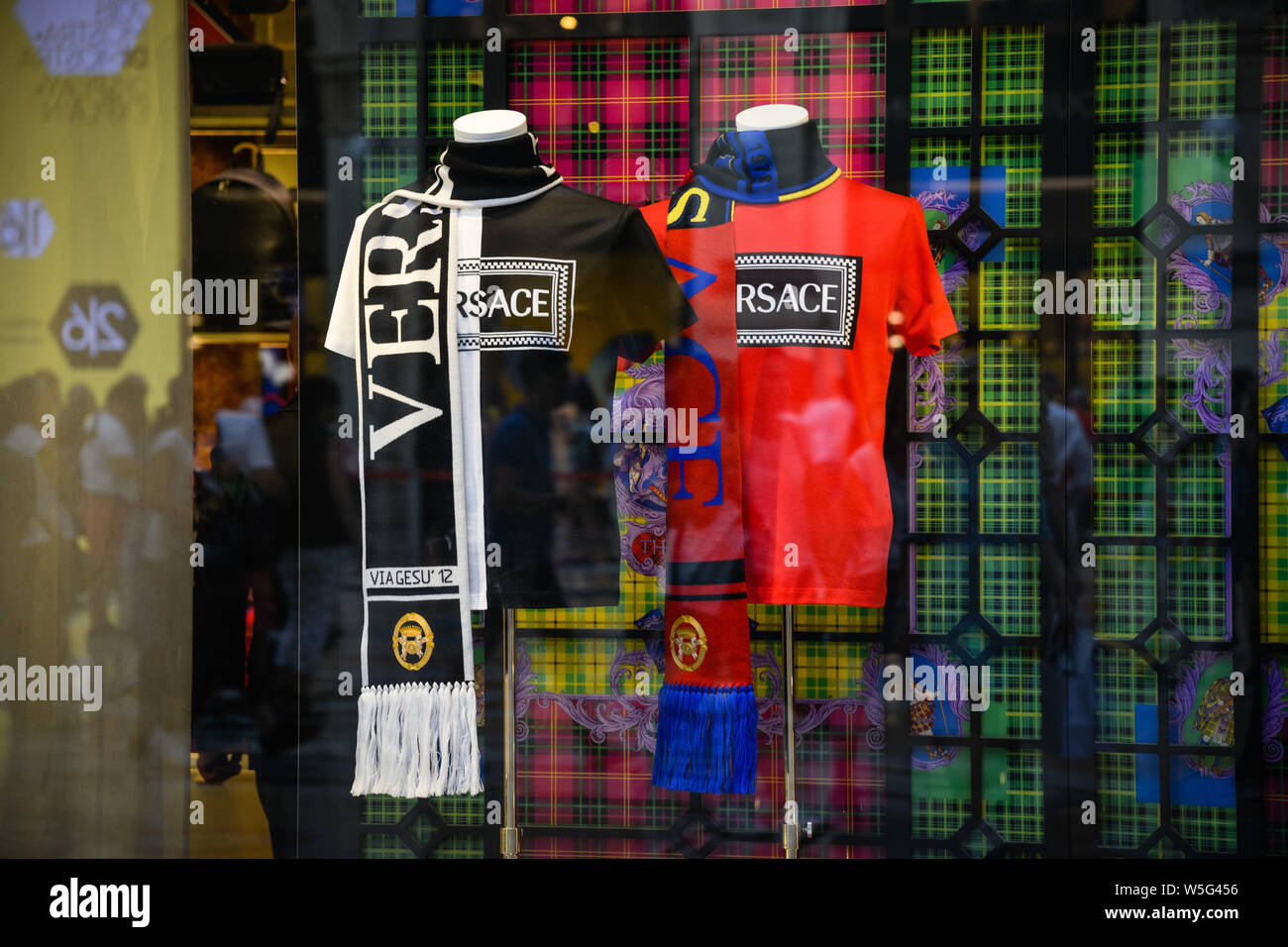 Milan, Italy - September 21, 2018: Versace store in Milan. Montenapoleone area. Fashion week Versace Stock Photo