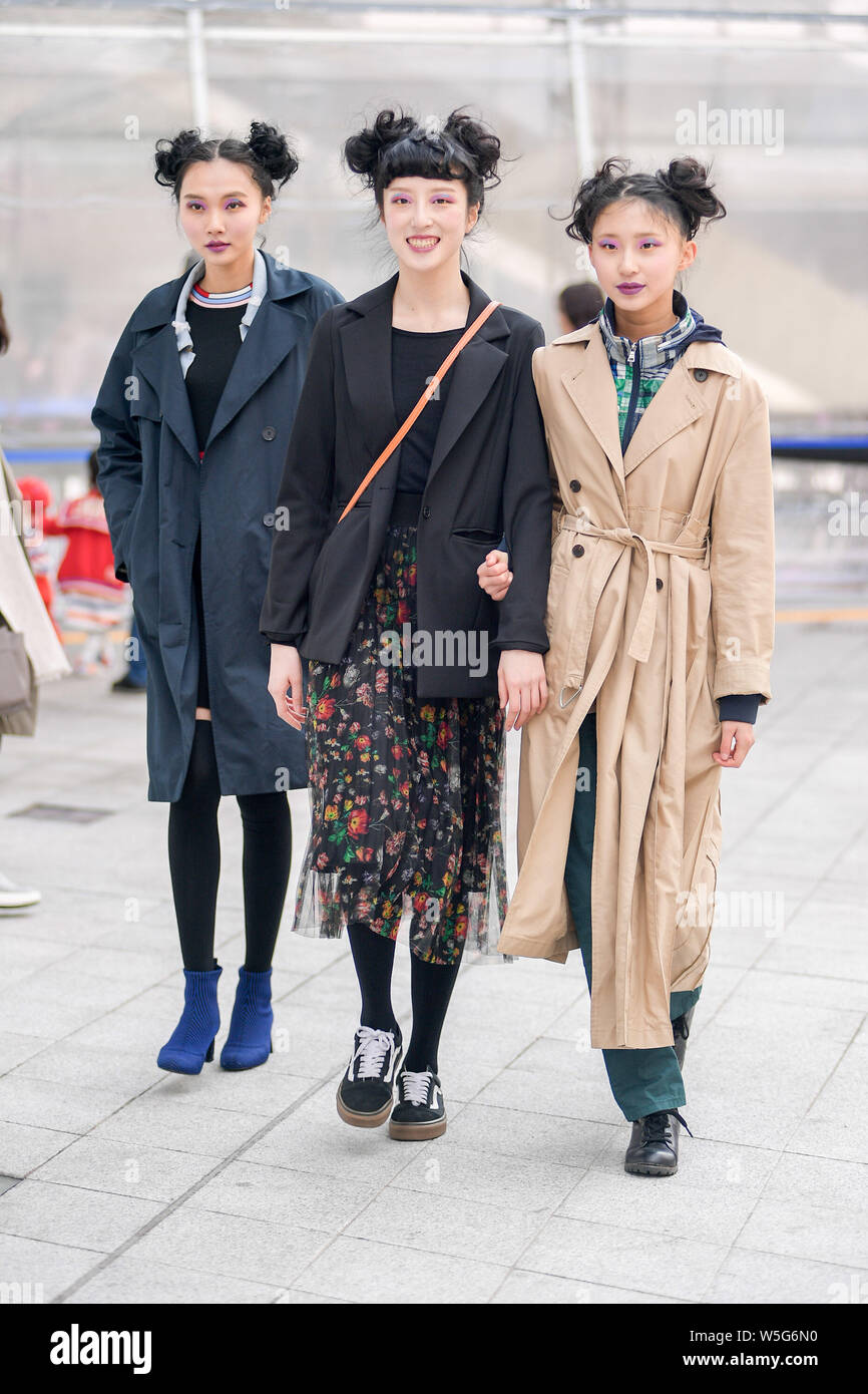 Trendy Women In Fashionable Outfits Are Pictured On The Street During The 2019 Fall Winter Seoul Fashion Week In Seoul South Korea 21 March 2019 Stock Photo Alamy