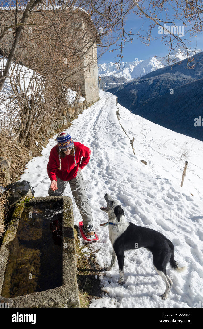Italy, Lombardy, Retiche Alps, Camonica Valley, snowshoeing on the trail to the ancient alpine church of San Clemente, playing with the dog Stock Photo