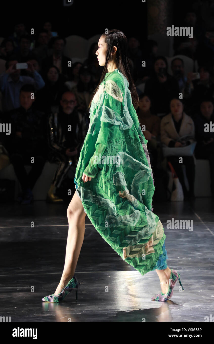 A Model Displays A New Creation At The Fashion Show Of Hempel Award The 27th China International Young Fashion Designers During The China Fashion Week Stock Photo 261588902 Alamy