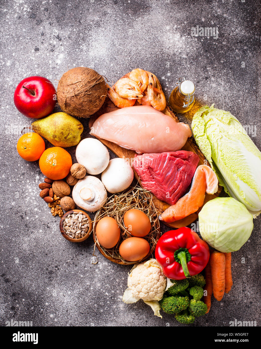 Healthy products for paleo diet Stock Photo