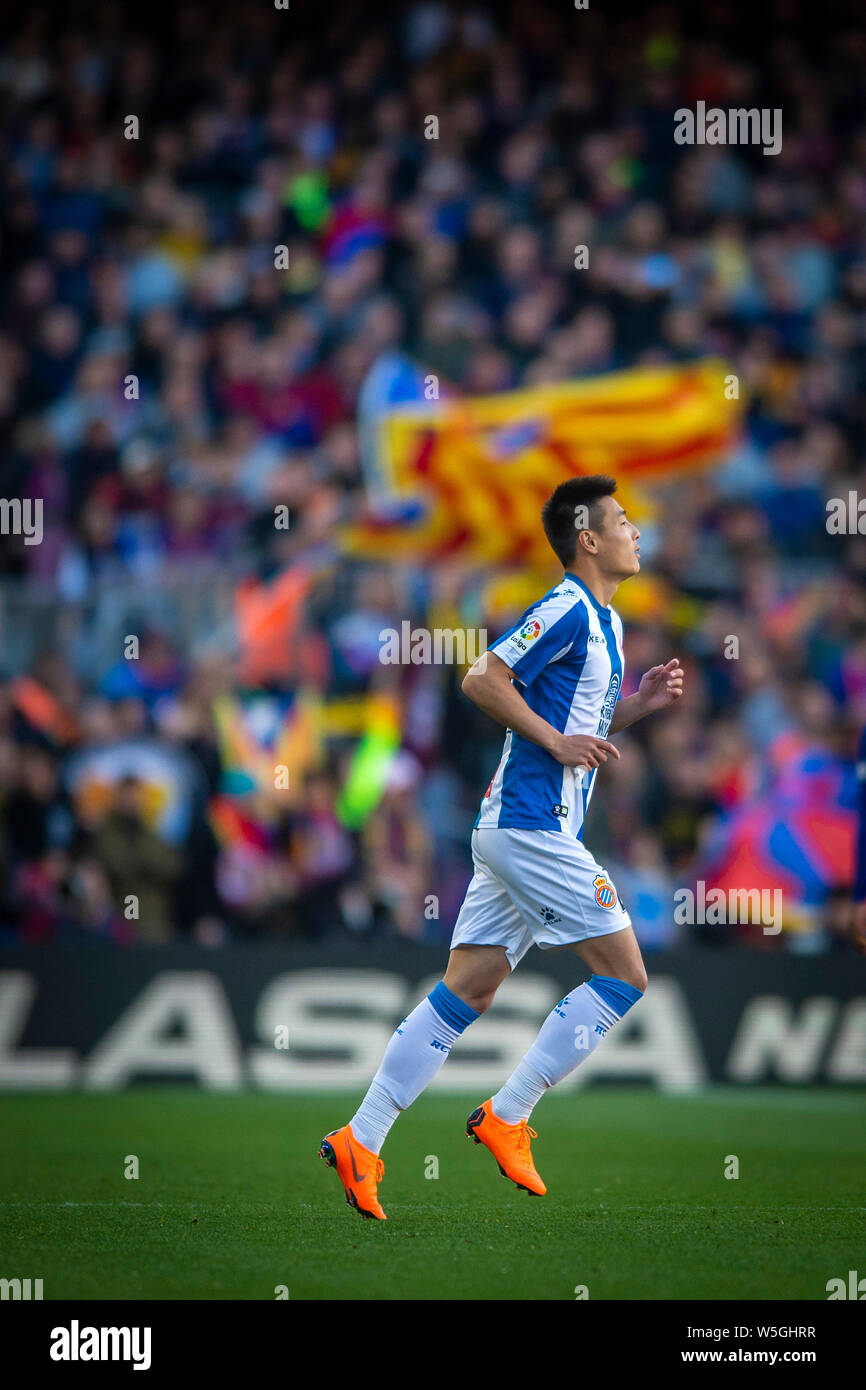 Wu Lei Of Rcd Espanyol Enters The Field To Compete Against Fc Barcelona After Substituting Borja Iglesias During Their 29th Round Match Of The La Liga Stock Photo Alamy