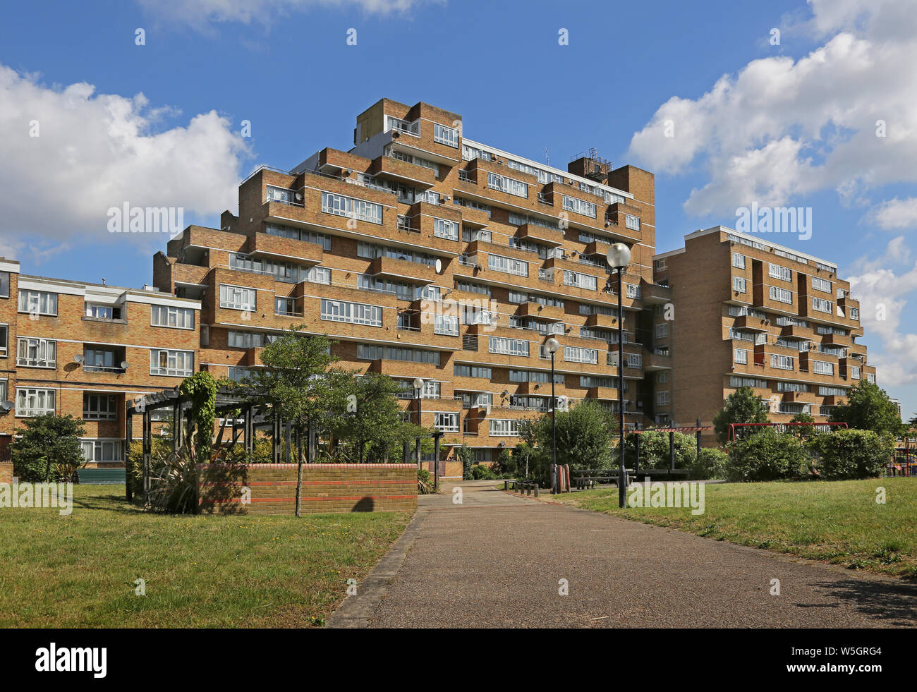 Ground level view of Dawson's Heights, famous 1960s public housing project in South London, designed by Kate Macintosh. Ladlands block from south. Stock Photo