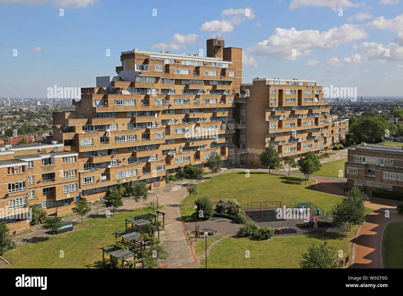 High level view of Dawson's Heights, the famous 1960s public housing project in South London, designed by Kate Macintosh. View north from south block. Stock Photo