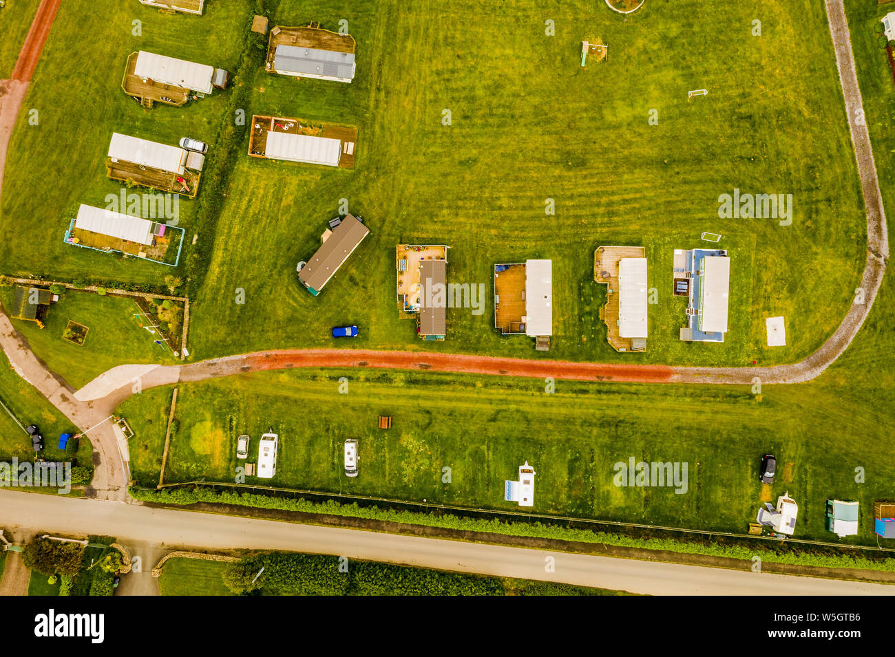 Trailer park aerial view Donabate, Ireland Stock Photo