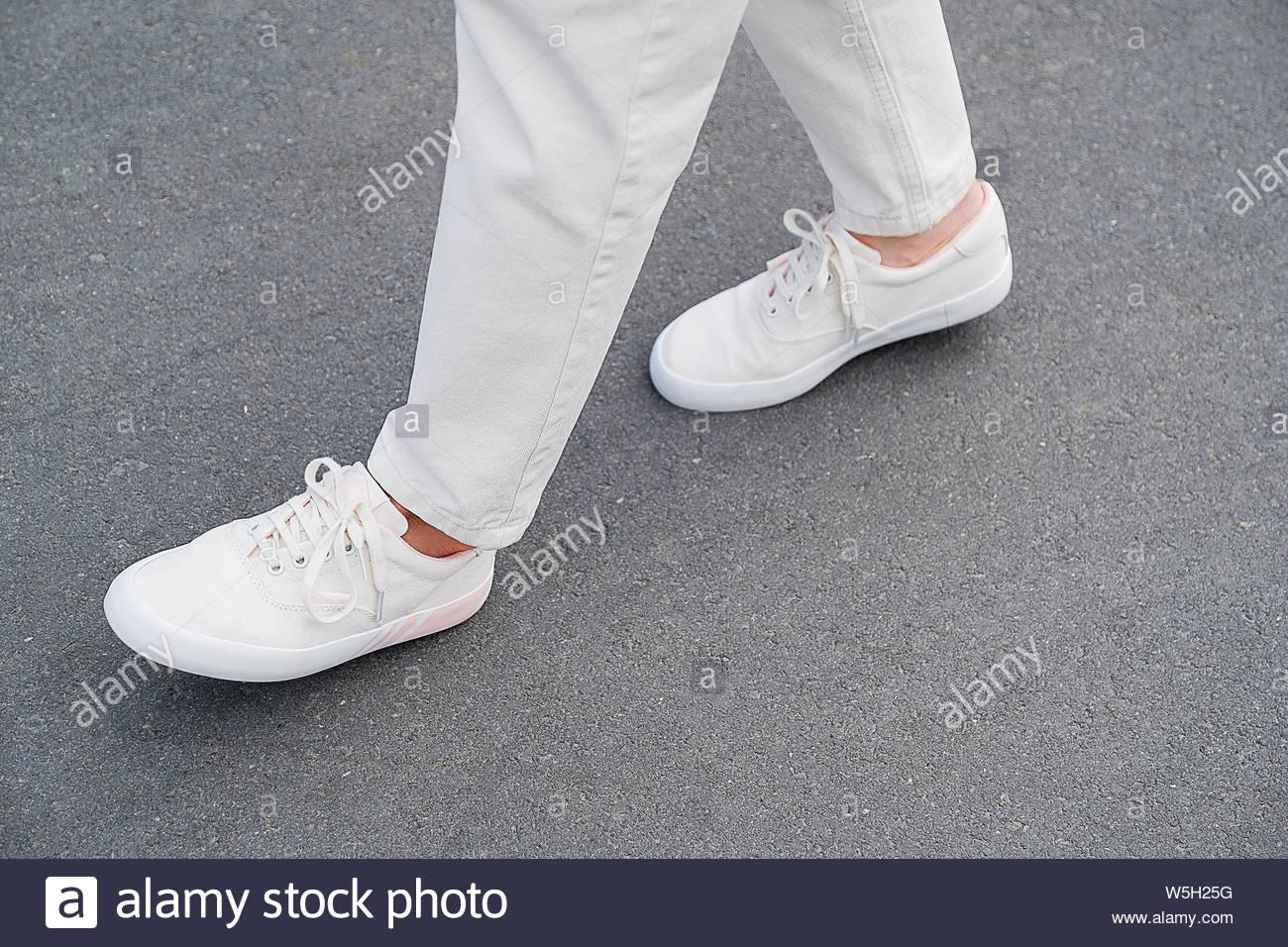 girl white sneakers