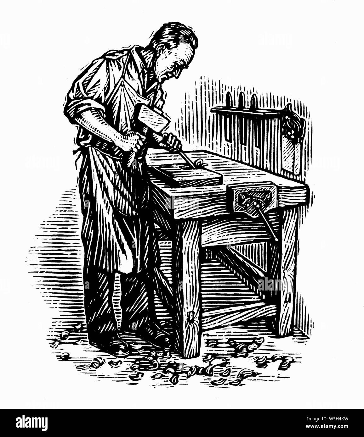 Black and white scraperboard engraving of skilled carpenter