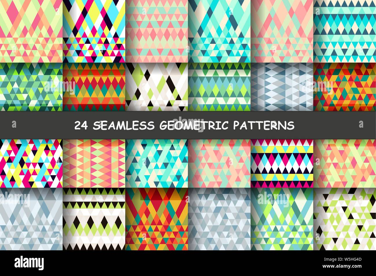 Seamless Colorful Geometry Triangle Pattern Color Abstract Background Big Set Fashion Design Vector Illustration Stock Vector Image Art Alamy