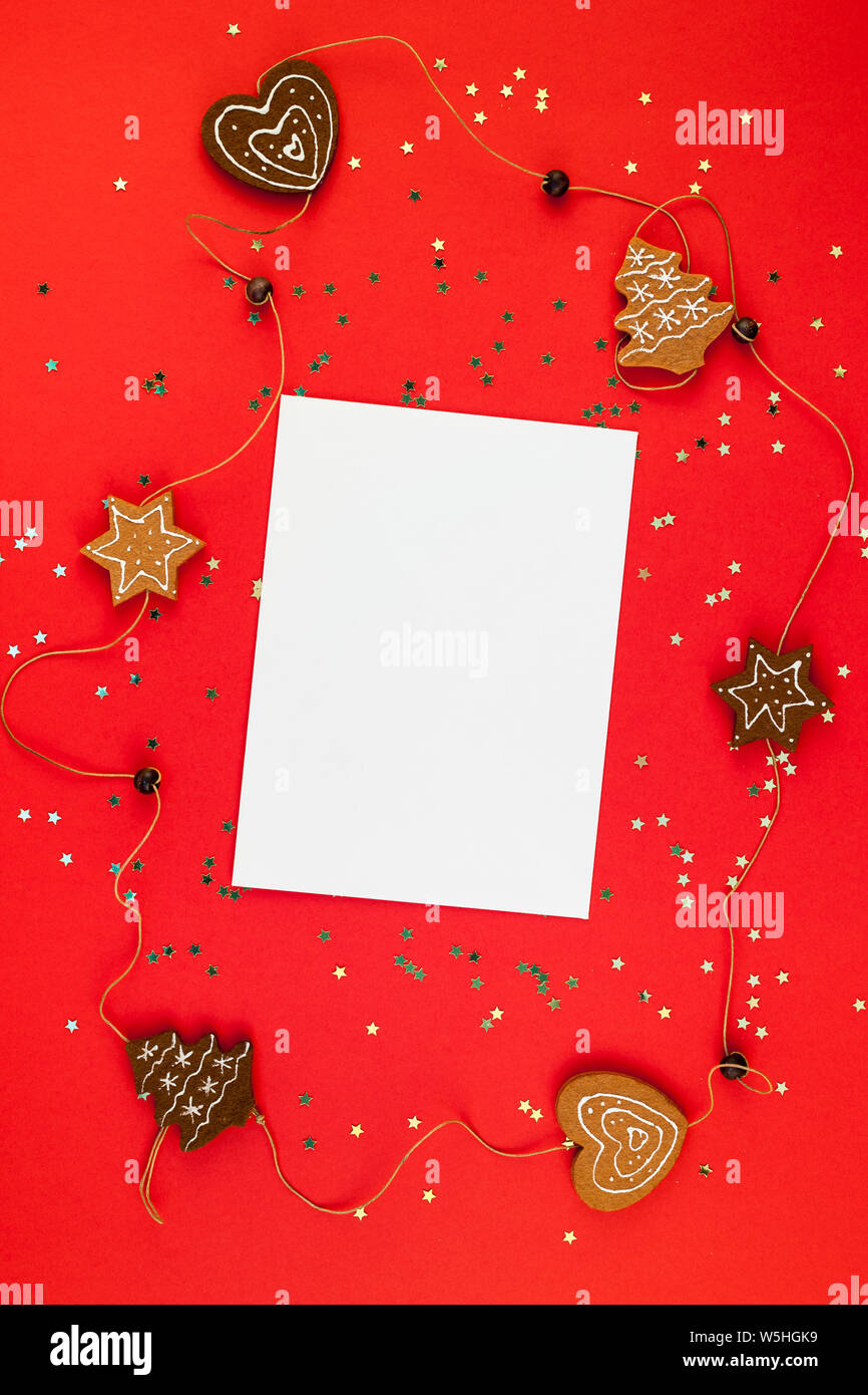 Christmas Greetings Letter.Creative New Year Or Christmas Greetings Letter Mockup Flat