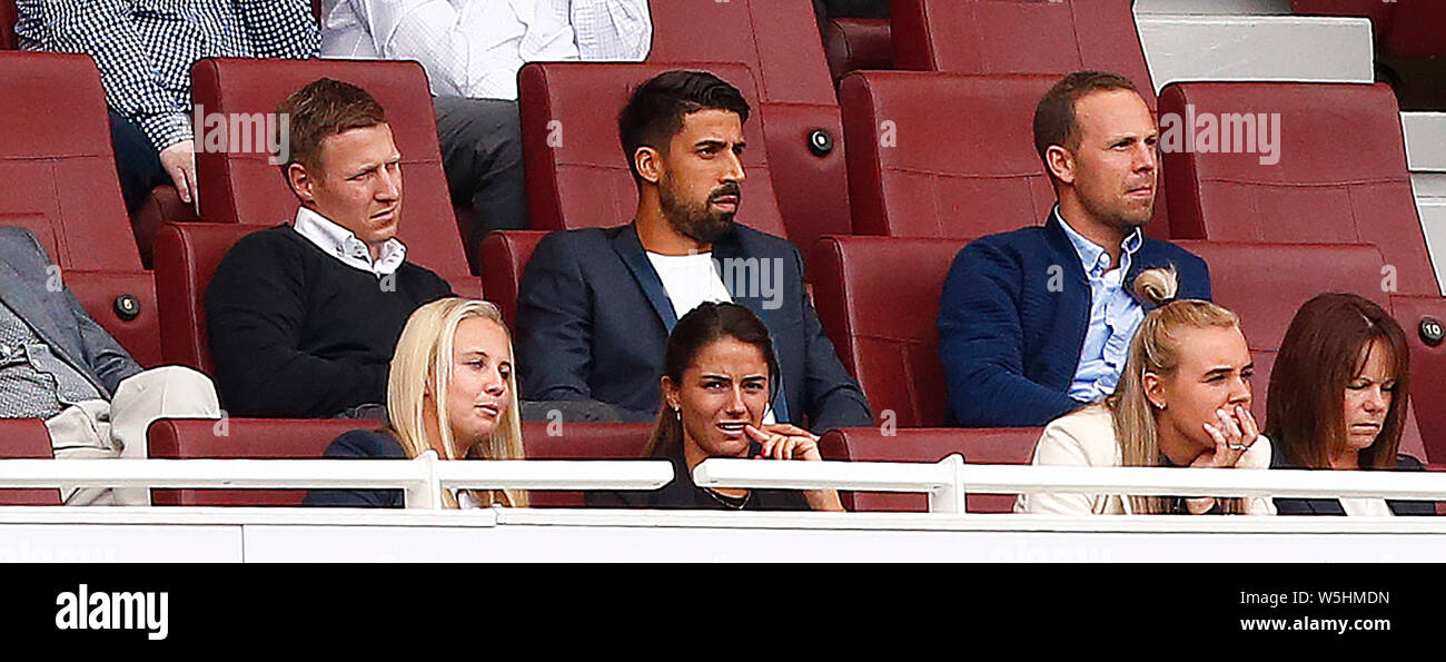 London, UK. 24th Sep, 2018. London, United Kingdom, JULY 28 Sami Khedira was spotted at the Emirates on Sunday for Arsenal's pre-season friendly during Emirates Cup Final between Arsenal and Lyon (Olympique Lyonnais )at Emirates stadium, London, England on 28 July 2019. Credit: Action Foto Sport/Alamy Live News Stock Photo