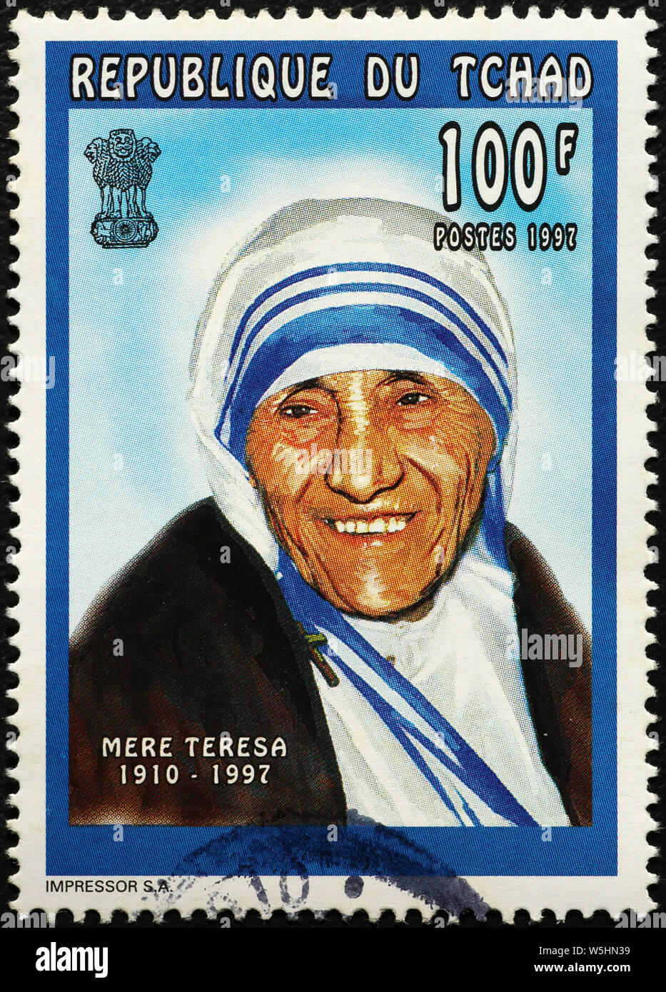 Mother Teresa on postage stamp of Chad Stock Photo