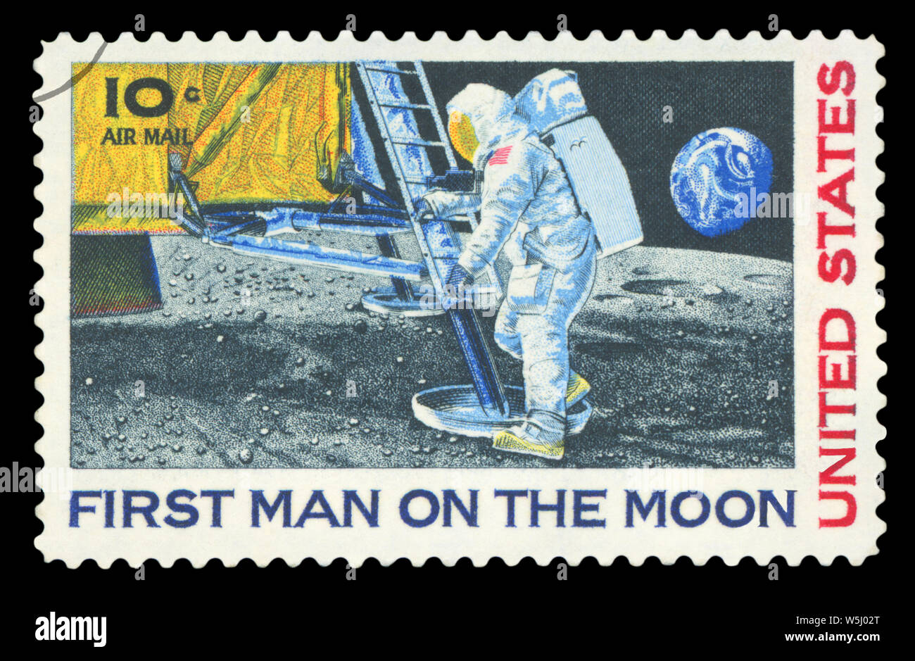 UNITED STATES - CIRCA 1969: A stamp printed in USA shows Neil Armstrong, first step on the moon, circa 1969. Stock Photo