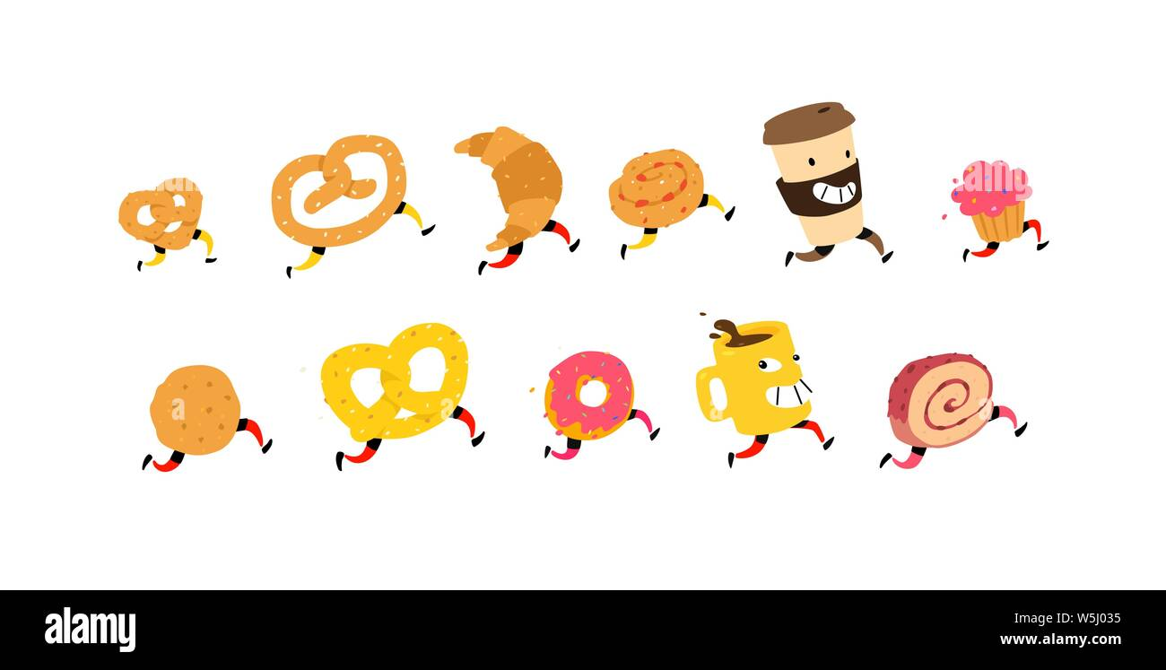 Illustration of running snacks. Vector. Characters glass of coffee, croissant, bun and others. Icons for the site on a white background. Sign, logo Stock Vector