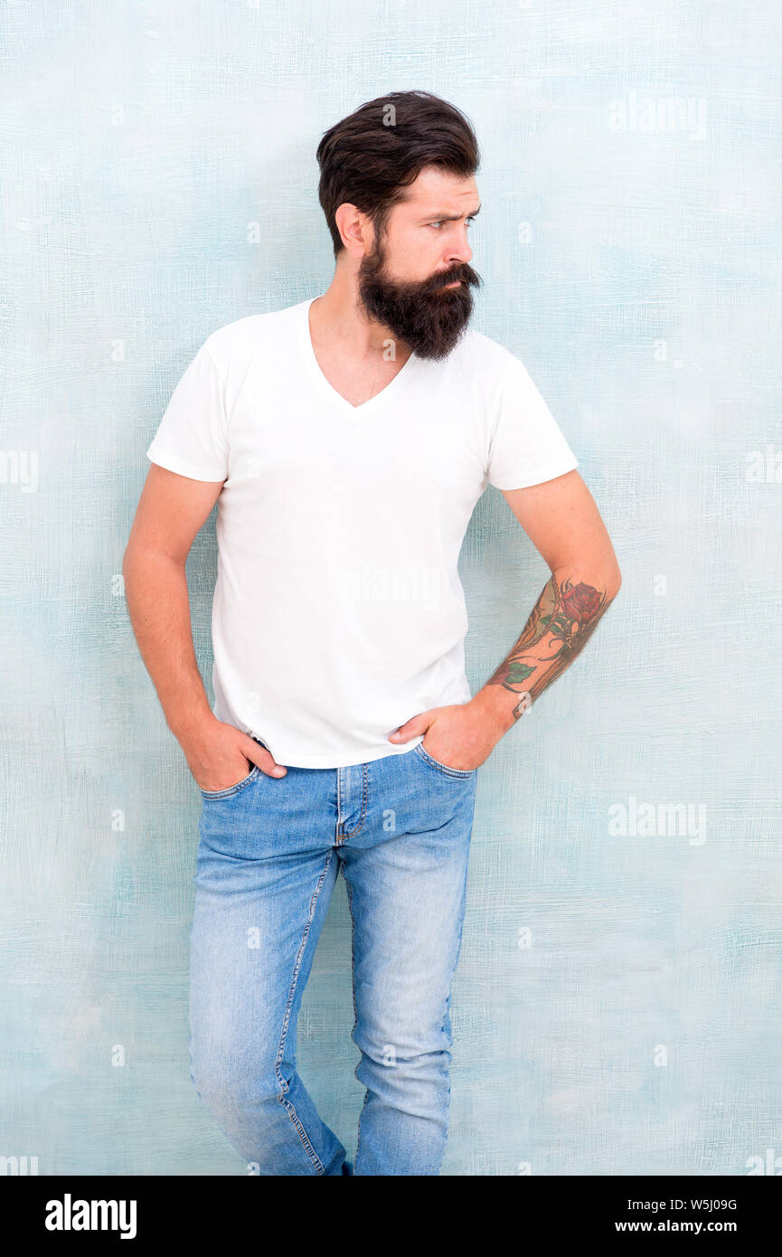 Simple and casual. Masculinity concept. Fashion and beauty