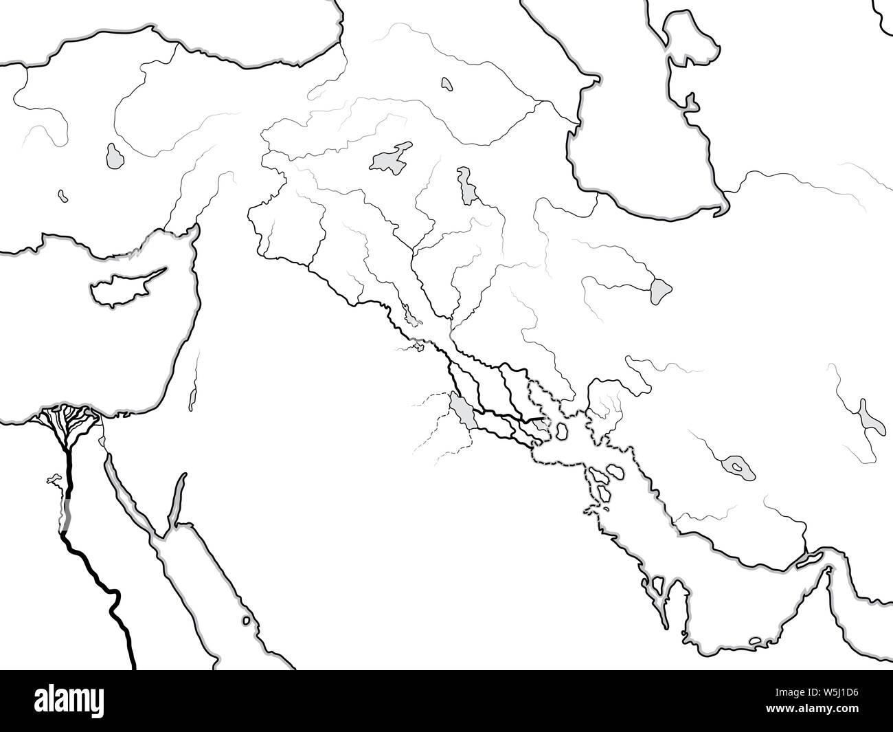 World Map Of The Tigris Euphrates Valley Mesopotamia Assyria