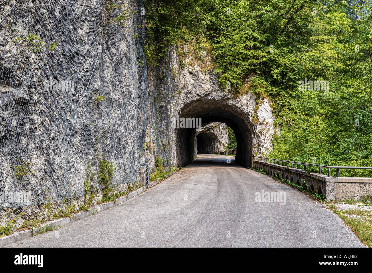 Italy Friuli Val Cellina Barcis - old road of the Valcellina - Natural park of Dolomiti Friulane Stock Photo