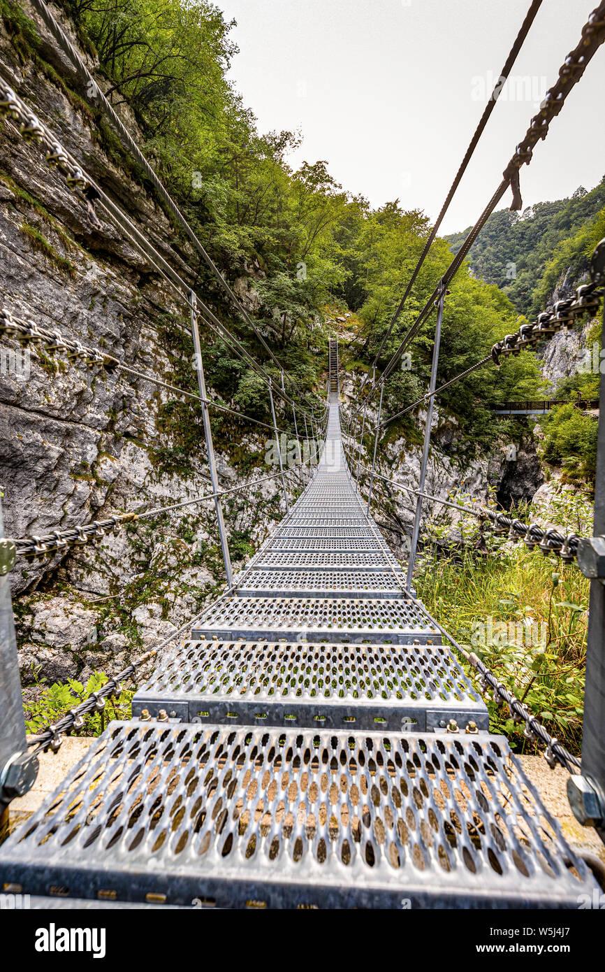 Italy Friuli  Barcis Old Road of the Val Cellina - Himalayan Bridge - Natural park of the Dolomiti Friulane Stock Photo