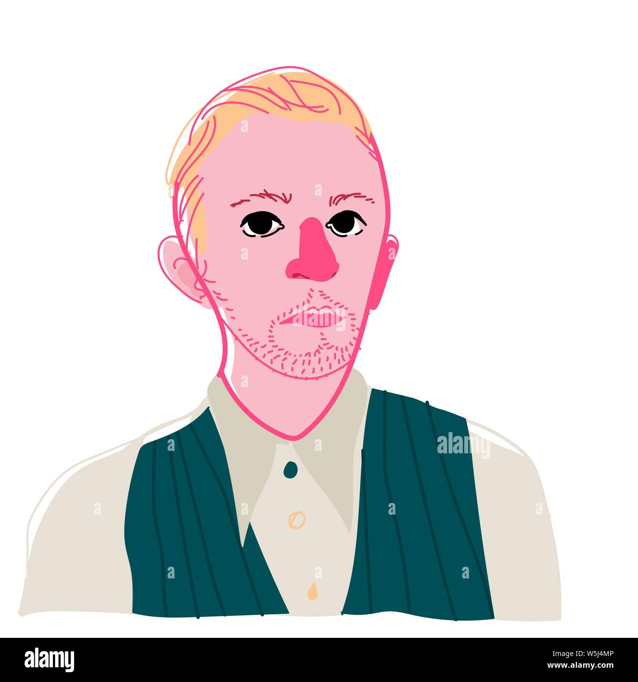 Illustration of a young man. Vector. Portrait of an abstract man in the style of pop art. Bright original image. A masterpiece of modern art. Sad and Stock Vector