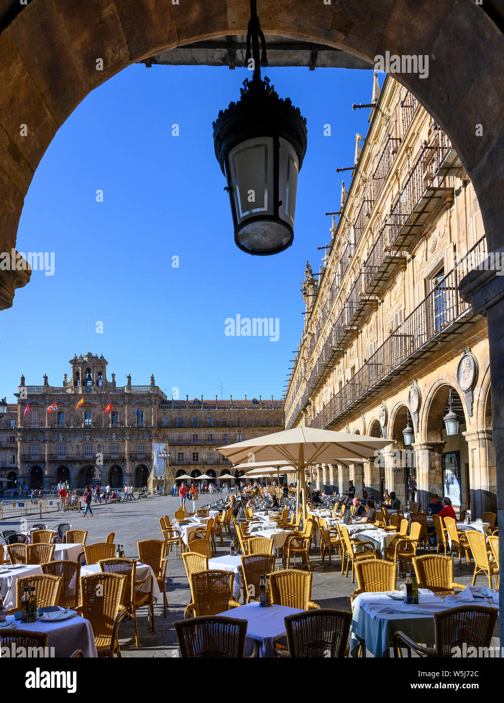 The Baroque Plaza Mayor in the center of Salamanca, Spain. Stock Photo
