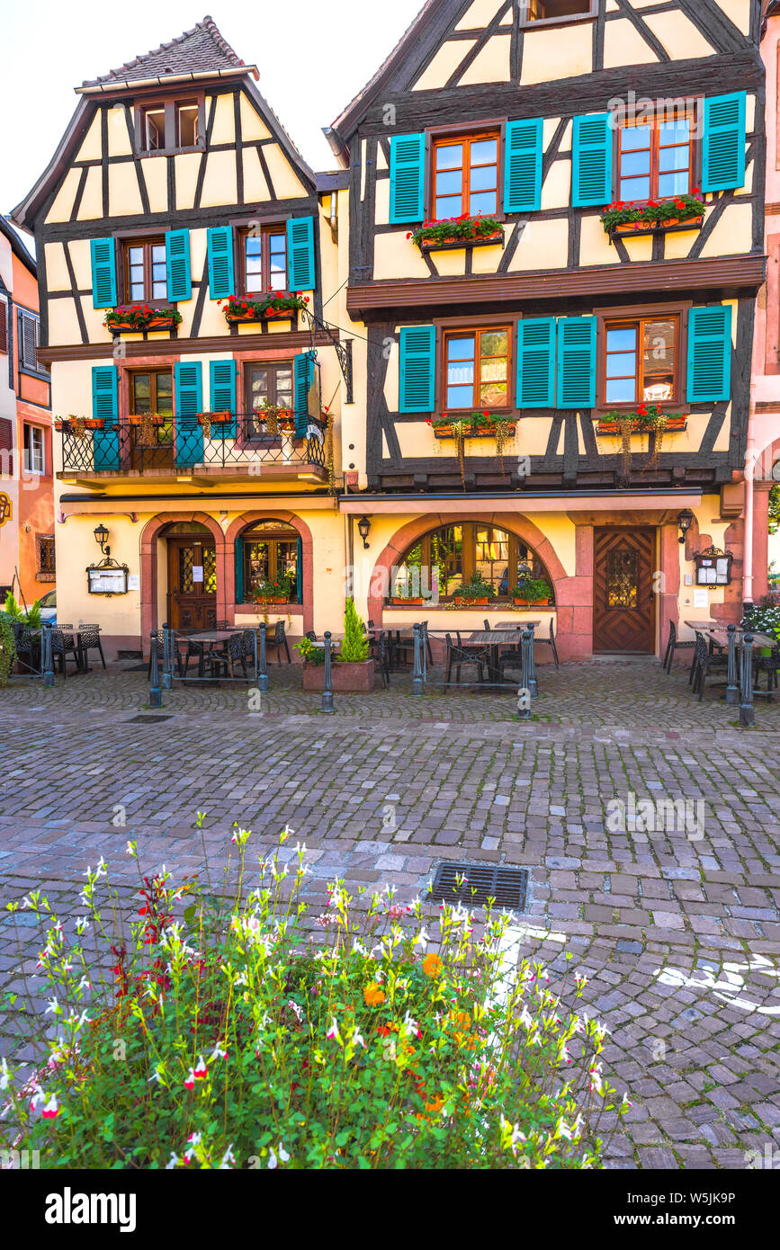 colorful half-timbered houses in Kaysersberg, Alsace Wine Route, France, picturesque old town and touristy destination Stock Photo