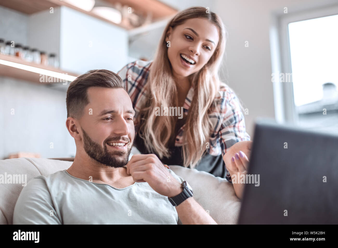 close up. young couple looking at laptop screen. Stock Photo