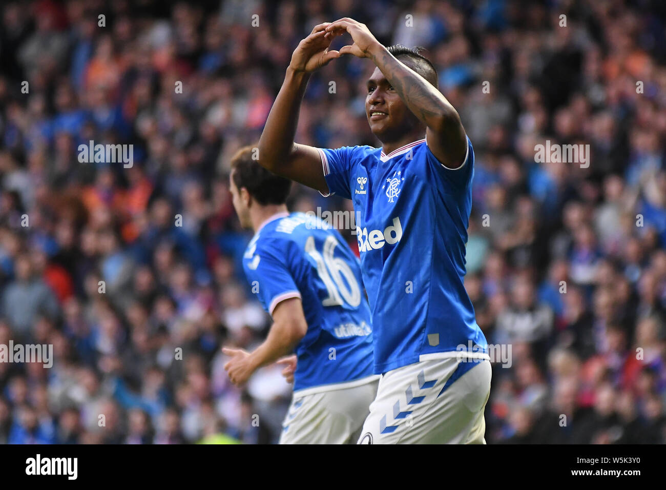 GLASGOW, SCOTLAND - JULY 18, 2019: Alfredo Morelos of Rangers celebrates after he scored his second and his team's third goal during the 2nd leg of the 2019/20 UEFA Europa League First Qualifying Round game between Rangers FC (Scotland) and St Joseph's FC (Gibraltar) at Ibrox Park. Stock Photo