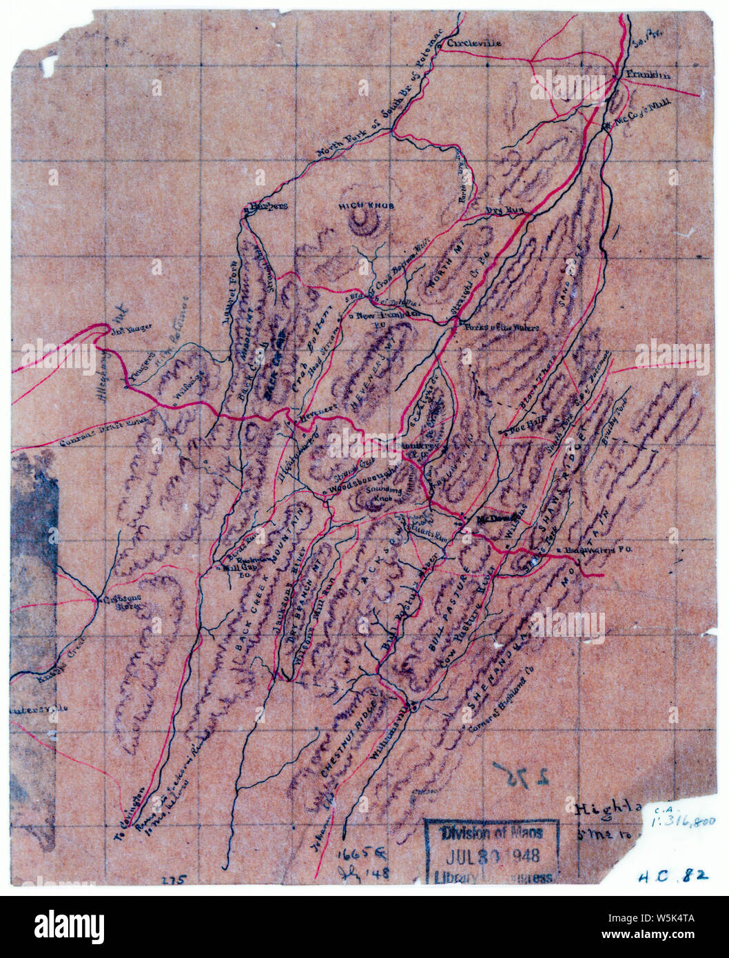 030  Map of parts of Highland County Va and Pendleton County W Va Rebuild and Repair Stock Photo